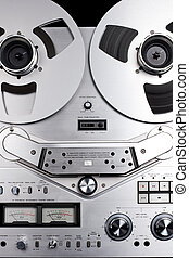 bobine, enregistreur, audio, bande, analogue