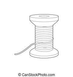 bobine, icône, style, contour, fil