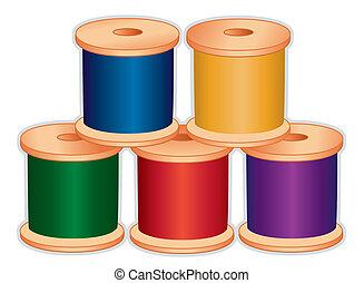 bobines, fil, bijou, couleurs