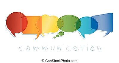 boble, regnbue, marketing., netværk, kontakter, kommunikation, concept., communication., isoleret, chatting., community., vektor, tale, colors., online, tekst, kammerater