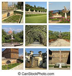 boboli, 花园, 拼贴艺术, 世界, 遗产, 站点, 佛罗伦萨, tuscany, italy, europe