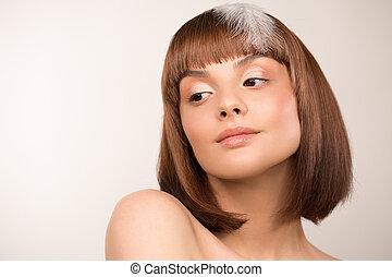 bob's, woman., portrait., 顔, hairstyle., 美しさ