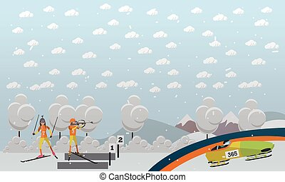 bobsleigh, biathlon, begriff, vektor, abbildung, in, wohnung, stil