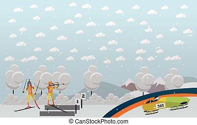 bobsleigh, biathlon, conceito, vetorial, ilustração, em, apartamento, estilo