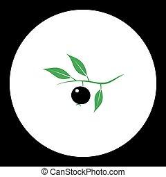 bobule, s, list, ovoce, jednoduchý, černoši i kdy, nezkušený, ikona, eps10