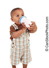 Boby Boy Drinking Milk with Bottle