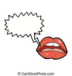 boca aberta, caricatura, símbolo, com, borbulho fala