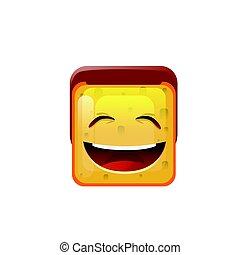 boca abre, cara, positivo, icono, sonriente, emoticon