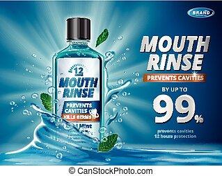boca, anuncios, enjuague