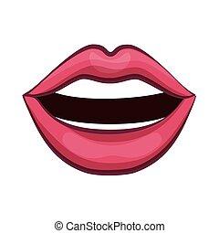 boca, com, vermelho, excitado, lábios