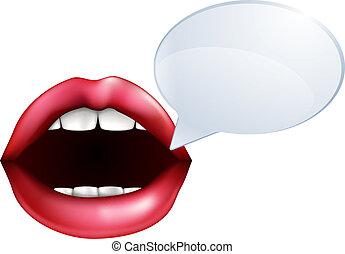 boca, ou, lábios, falando