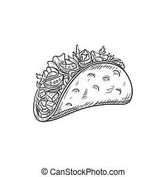 bocado, frito, tortilla, alimento, tacos, burritos, aislado