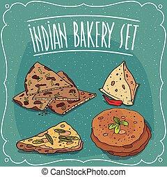 bocado, indio, roti, conjunto, pastel, samosa