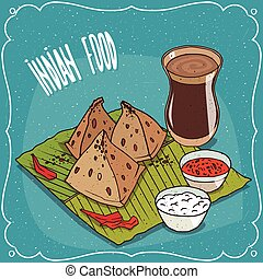 bocado, té, chai, indio, masala, salsa, samosa