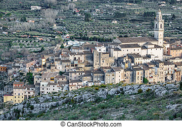 Bocairent village with vintage houses