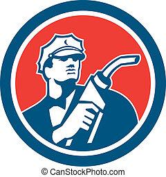 bocal, bomba gasolina, retro, combustível, assistente, círculo