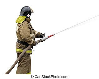 bocal, nevoeiro, bombeiro, trabalhando