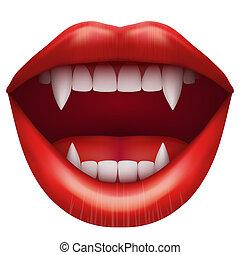 bocca aperta, vampiro, lips.