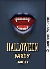 bocca, halloween, vampiro, festa, invito