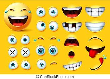 bocca, smileys, vettore, divertente, occhi, creazione, sorpresa, emojis, feelings., emoticons, affamato, faccia, kit, set., eccitato, smiley, emoji