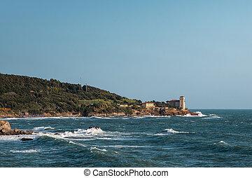 Boccale Castle, Seashore and Choppy Sea in Livorno, Italy