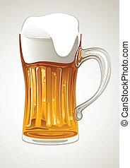 boccale vetro, birra, oro, fresco