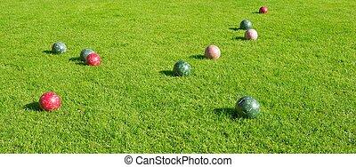 bocce, ゲーム, ボール, 草が茂った, 区域