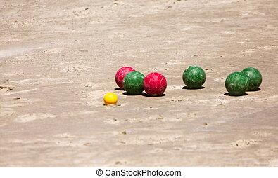 bocce, ボール, 浜