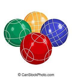 bocce, 作られた, ボール, 金属, colorfull, ベクトル, プラスチック, ∥あるいは∥