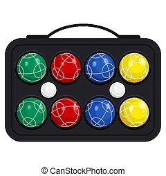 Bocce ball in kit or case vector illustration isolated on white background