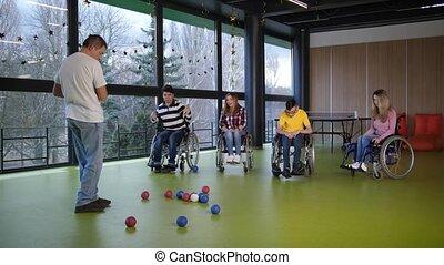 bocce, handicapé, jouer, gens, jeu, groupe