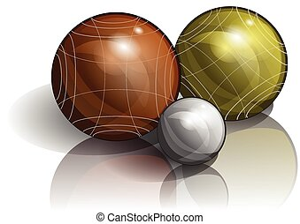 bocce. three balls on white background with shadow