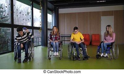 bocce, victoire, handicapé, adolescent, réjouir, joueurs