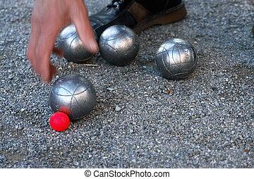 Boccia - silver boccia ball on the ground