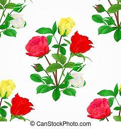 boccioli rosa, mazzolino, seamless, struttura, vector.eps, rose, giallo, bianco rosso