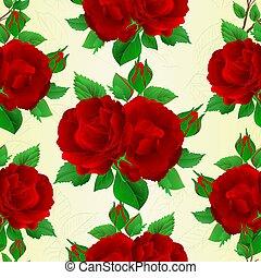 boccioli rosa, mazzolino, seamless, struttura, vector.eps, rose, rosso