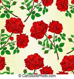 boccioli rosa, mazzolino, vendemmia, seamless, struttura, vector.eps, rose, rosso