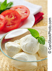 Bocconcini cheese, basil and sliced tomatoes - ingredients ...