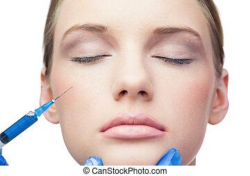 bochecha, injeção, bonito, calmo, modelo, botox, tendo
