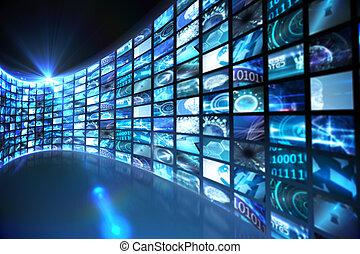 bocht, van, digitale , schermen, in, blauwe