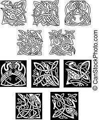 bocian, celtycki, czapla, upiększenia