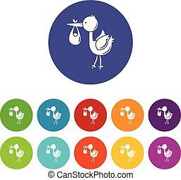 bocian, dziecko, ikony, komplet, wektor, kolor