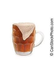 Bock Beer With Overflowing Foam Top