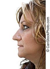 boczny profil, od, niejaki, kobieta