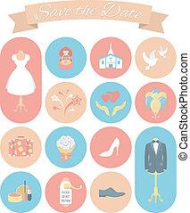 boda, 2, conjunto, redondo, iconos