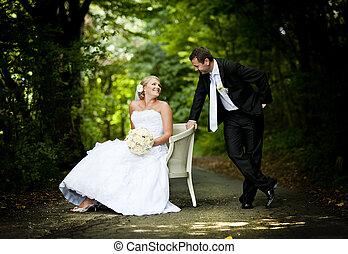 boda, al aire libre, retratos