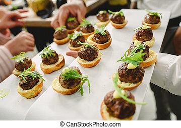 boda, alimento, ideas, aperitivos