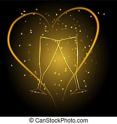 boda, anteojos, con, corazón, en, oro, color