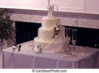 boda, anteojos de champán, hermoso, pastel, multi-tier