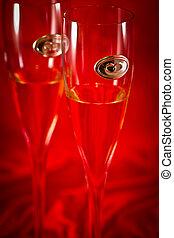 boda, anteojos de champán
